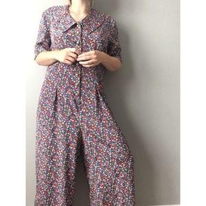 Vintage Liz Claiborne Floral Button Jumpsuit 0823